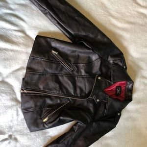 Faux leather jacket with embroidery on back